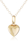 Duragold 14k Yellow Gold Puffed Heart Pendant Necklace, 38.1cm