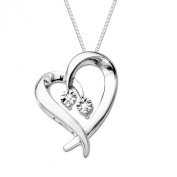 DiAura Sterling Silver Heart Shape Diamond-Accent Pendant Necklace, 45.7cm