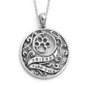Sterling Silver Antiqued Animal Friends-Dog 45.7cm Necklace