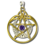 Sterling Silver Crescent Moon Pentacle Pentagram Pendant with Circle and Amethyst with Vermeil by Dryad Design