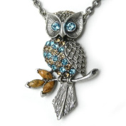 Pewter. Crystal Owl Pendant Necklace, Adjustable 66cm to 73.7cm