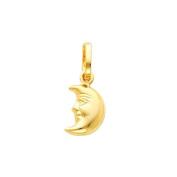 14K Yellow Gold Half Moon Face Charm Pendant