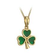 Gold Plated and Enamel Shamrock Pendant Necklace-Irish Made