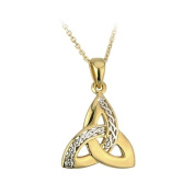 18k Gold Plated Two Tone Trinity Knot Necklace-Irish Made