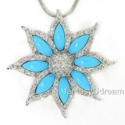 Stunning Flower Pendant w/Turquoise & pavé White CZs