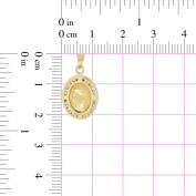 14k Yellow Gold, Laser Engraved Baptism Christening Pendant Charm 12mm Wide Lab Created Gems