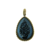14K Yellow Gold Pear Shaped Blue Drusy Pendant