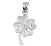 Celtic 10K White Gold Pendant - The Lucky Clover Leaf Charm