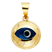 14K Yellow Gold Evil Eye Fluted Charm Pendant