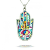 Blue Hamsa Necklace to Protect from the Evil Eye from the Artazia Collection #2412B JN MN