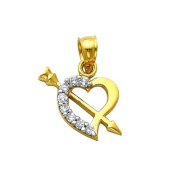 14K Yellow and Rose 2 Two Tone Gold Cupid Arrow CZ Heart Charm Pendant