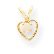 14k 3mm Created Opal Heart Pendant With Child Chain - 15 Inch - Measures 10x6mm - JewelryWeb