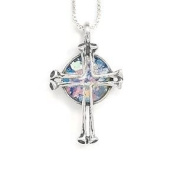 Ancient Roman Glass Necklace with Nail Cross Sterling Silver Made in Israel Box Chain Included
