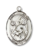Made in USA! Sterling Silver St. Kevin Medal Pendant with 61cm Stainless Steel Chain in Gift Box