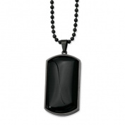 Black Stainless Steel & Black Agate Dog Tag Necklace 76.2cm