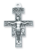 Sterling Silver Large San Damiano Cross Crucifix Medal Pendant
