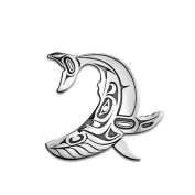Sterling Silver Humpback Whale Northwest Coast Native American Necklace Pendant. Made in USA.