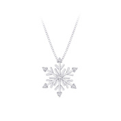 Sterling Silver, Diamond ''Snow Flake'' Pendant with Chain
