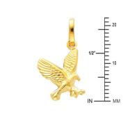 14K Yellow Gold Flying Eagle Charm Pendant