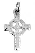 Small White 14K Gold Celtic Polished Cross Pendant