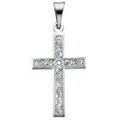 Small Cross In 14kt White Gold