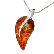 Sterling silver and leaf-shaped, cognac amber pendant with 46cm sterling silver chain
