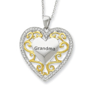 Sterling Silver Grandma Heart with Gold Plating and CZ 45.7cm Necklace