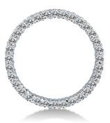 Solid 14K White Gold Journey Eternity Circle Highest Quality Round Shape Brilliant Cut CZ Cubic Zirconia Large Ladies Pendant Charm
