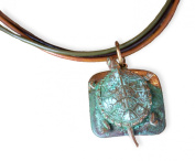Etched Patina Solid Brass Box Turtle Pendant on Classic Tri-colour Rawhide