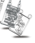 Sterling Silver Jesus Christ Double Sided Scapular Medal Pendant