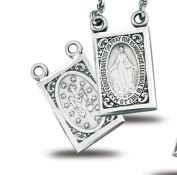 Sterling Silver Double Sided Scapular Christian Medal Pendant