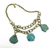 Pendant Necklace 3 Turquoise Pendants on Gold Chain Costume Jewellery