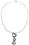 Necklace Cubic Zirconia Hearts Sterling Silver Italian 45.7cm
