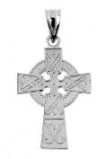 White 10K Gold Celtic Cross Pendant 2.5cm