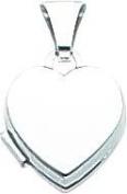 14K White Gold Heart Locket Photo Pendant Jewellery |C
