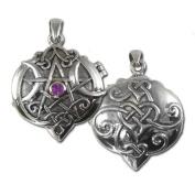 Sterling Silver Heart Pentacle Pentagram Locket with Amethyst by Dryad Design