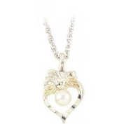 Black Hills Gold Necklace - Heart - Pearl