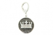 Victoria Kay 0.02ct Black and White Diamond Accent Crown Charm Pendant in Sterling Silver, 45.7cm