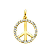 14K Yellow Gold Peace Sign CZ Cubic Zerconia Charm Pendant