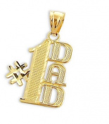 # 1 DAD Charm 14k Yellow Gold Father's Day Pendant 2.5cm