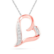 10KT Pink Gold Baguette and Round Diamond Heart Pendant
