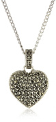 Judith Jack Sterling Silver Marcasite and Crystal Pave Reversible Heart Pentant Necklace, 40.6cm