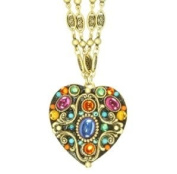 Michal Golan Kaleidoscope Collection Heart Pendant on Double Chain Necklace