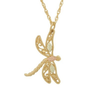 Gold Dragonfly Black Hills Pendant Necklace