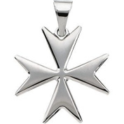 Sterling Silver Maltese Cross Necklace, 61cm Chain