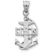 USA Navy Anchor Pendant in 10K White Gold