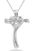 Heart and Cross Diamond Pendant in White Gold
