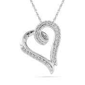 Platinum Plated Sterling Silver Round Diamond Heart Pendant
