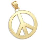14k Yellow Gold PEACE Symbol Sign Charm Pendant New