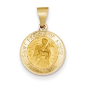 14k Polished and Satin St. Francis of Assisi Medal Pendant